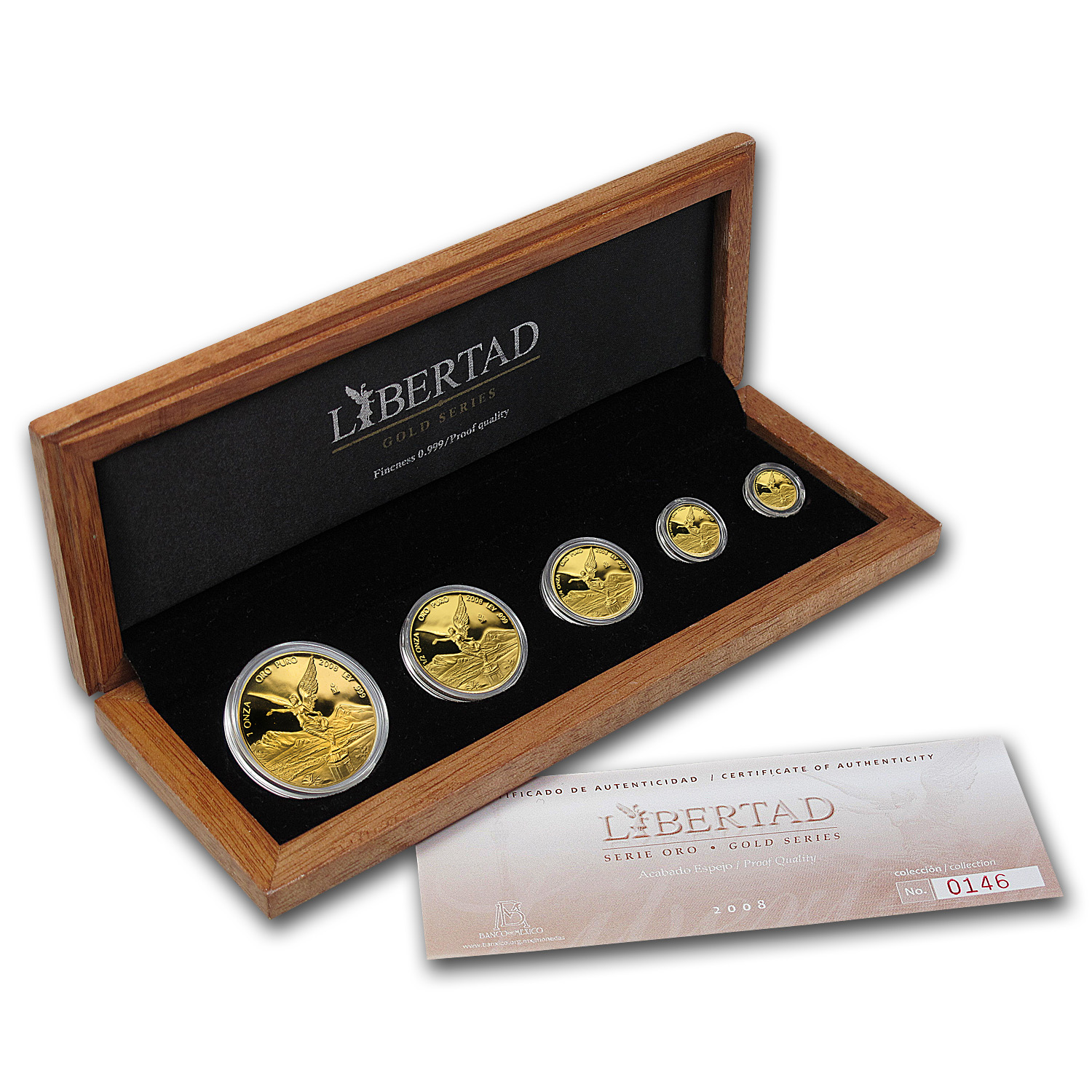 2008 Mexico 5-Coin Gold Libertad Proof Set (1.9 oz, Wood Box)